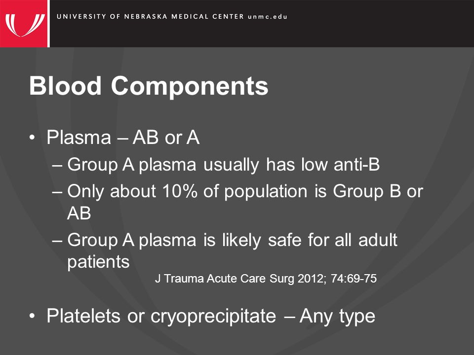 Blood Components Plasma – AB or A –Group A plasma usually has low anti-B –Only about 10% of population is Group B or AB –Group A plasma is likely safe for all adult patients Platelets or cryoprecipitate – Any type J Trauma Acute Care Surg 2012; 74:69-75