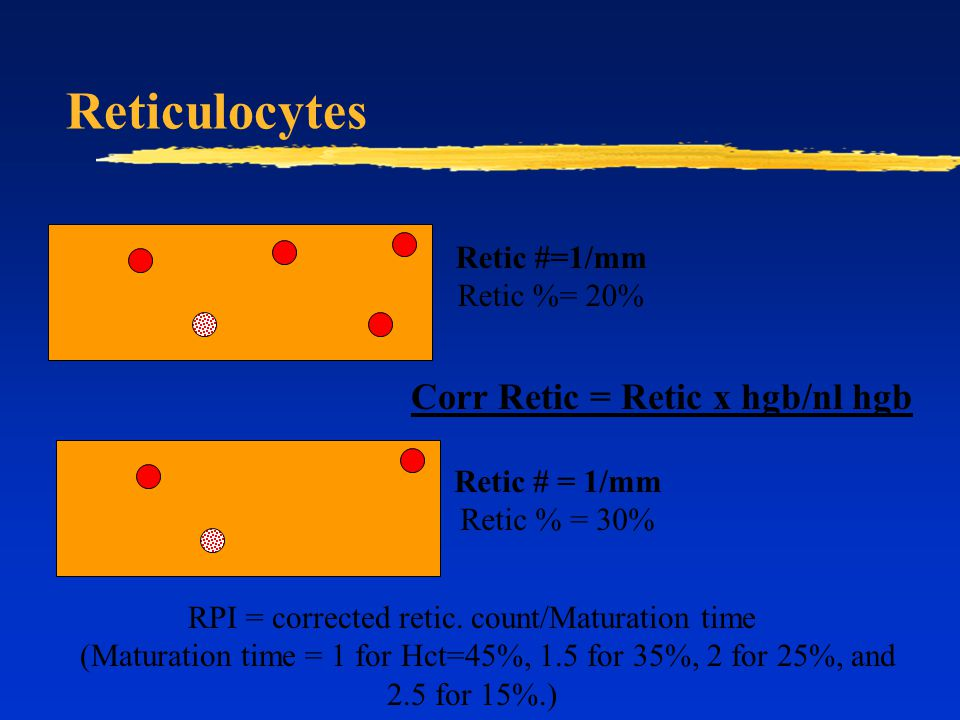 Reticulocytes Retic #=1/mm Retic %= 20% Retic # = 1/mm Retic % = 30% Corr Retic = Retic x hgb/nl hgb RPI = corrected retic. count/Maturation time (Mat