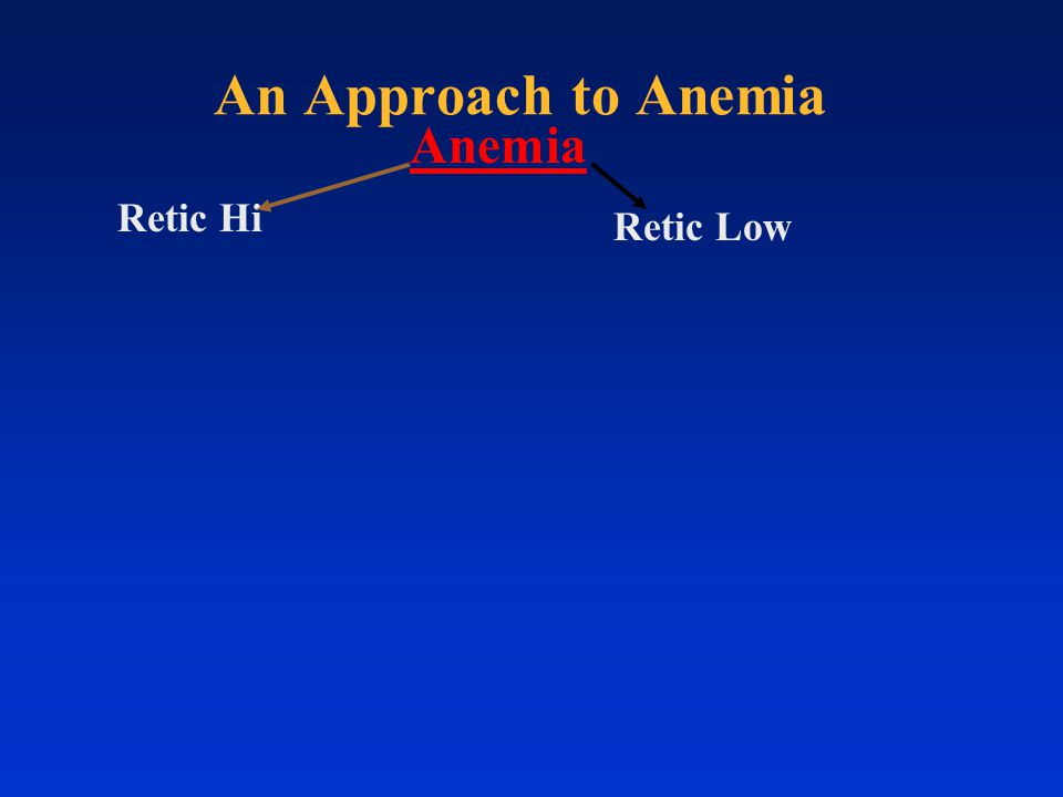 Retic Hi Retic Low Anemia An Approach to Anemia