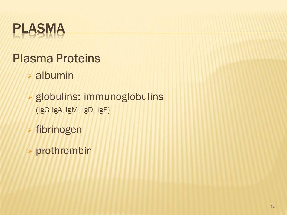 10 Plasma Proteins  albumin  globulins: immunoglobulins (IgG,IgA, IgM, IgD, IgE)  fibrinogen  prothrombin