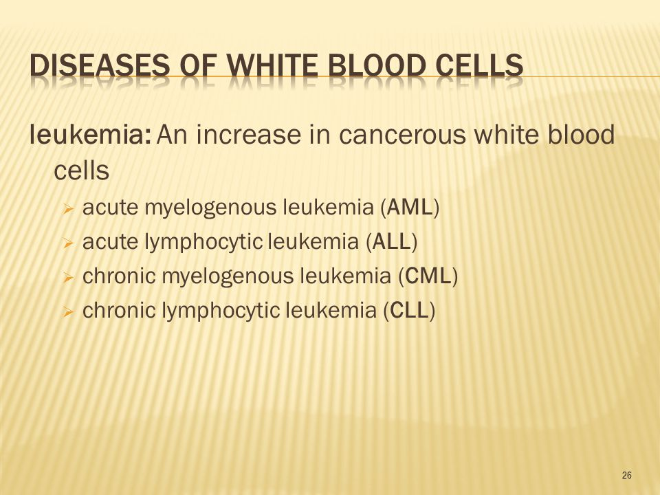 26 leukemia: An increase in cancerous white blood cells  acute myelogenous leukemia (AML)  acute lymphocytic leukemia (ALL)  chronic myelogenous leukemia (CML)  chronic lymphocytic leukemia (CLL)