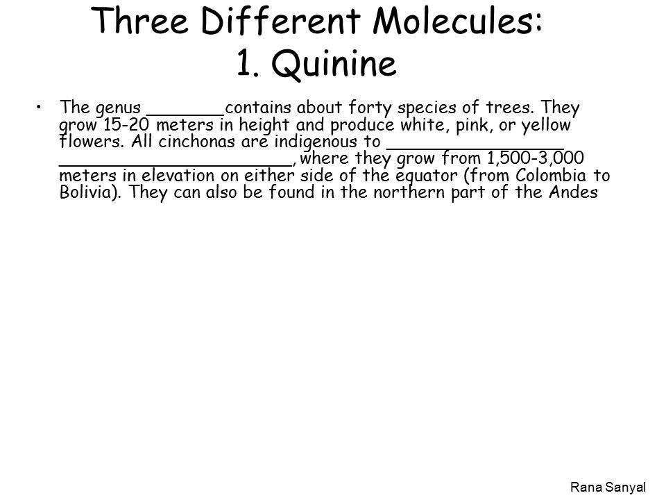 Rana Sanyal Three Different Molecules: 1.
