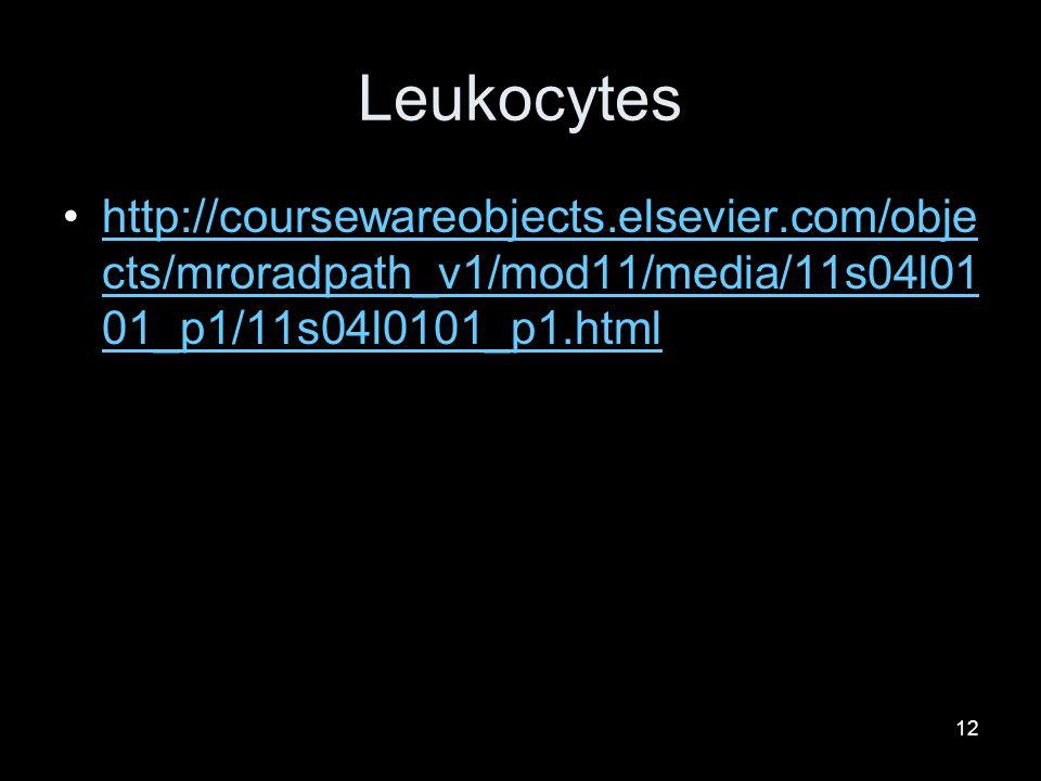 12 Leukocytes http://coursewareobjects.elsevier.com/obje cts/mroradpath_v1/mod11/media/11s04l01 01_p1/11s04l0101_p1.htmlhttp://coursewareobjects.elsevier.com/obje cts/mroradpath_v1/mod11/media/11s04l01 01_p1/11s04l0101_p1.html