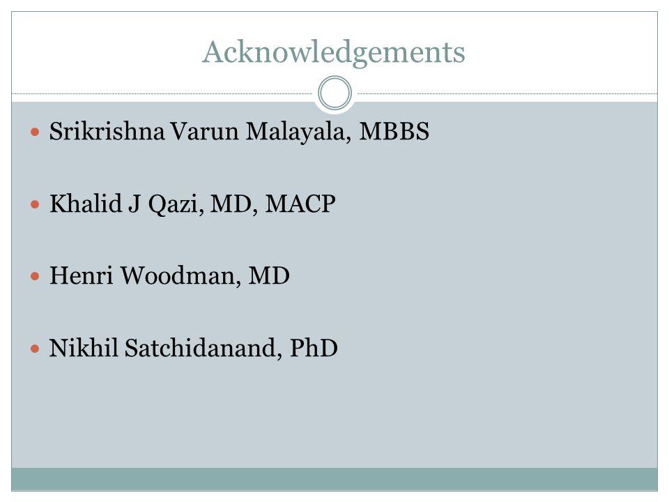 Acknowledgements Srikrishna Varun Malayala, MBBS Khalid J Qazi, MD, MACP Henri Woodman, MD Nikhil Satchidanand, PhD