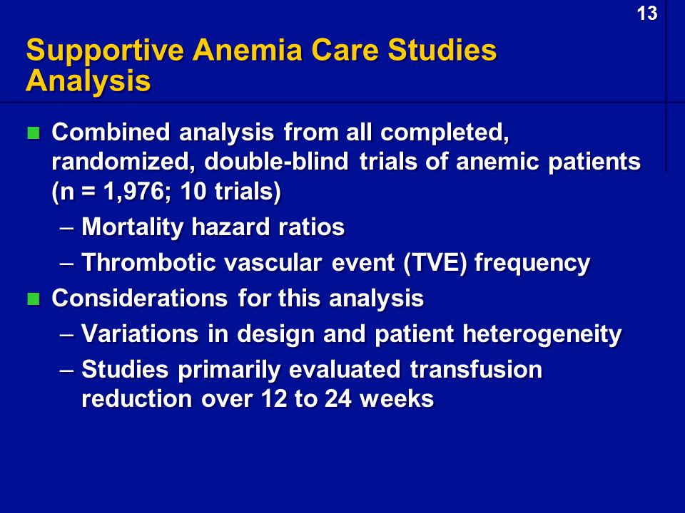 13 Supportive Anemia Care Studies Analysis Combined analysis from all completed, randomized, double-blind trials of anemic patients (n = 1,976; 10 tri