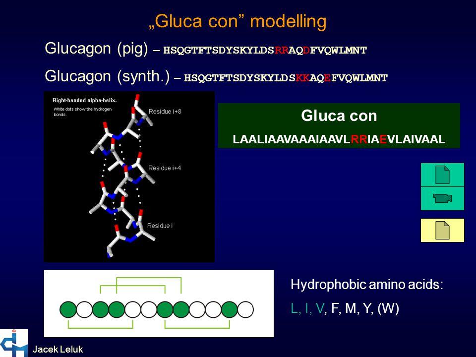 "Jacek Leluk Glucagon (pig) – HSQGTFTSDYSKYLDSRRAQDFVQWLMNT Glucagon (synth.) – HSQGTFTSDYSKYLDSKKAQEFVQWLMNT Hydrophobic amino acids: L, I, V, F, M, Y, (W) ""Gluca con modelling Gluca con LAALIAAVAAAIAAVLRRIAEVLAIVAAL"