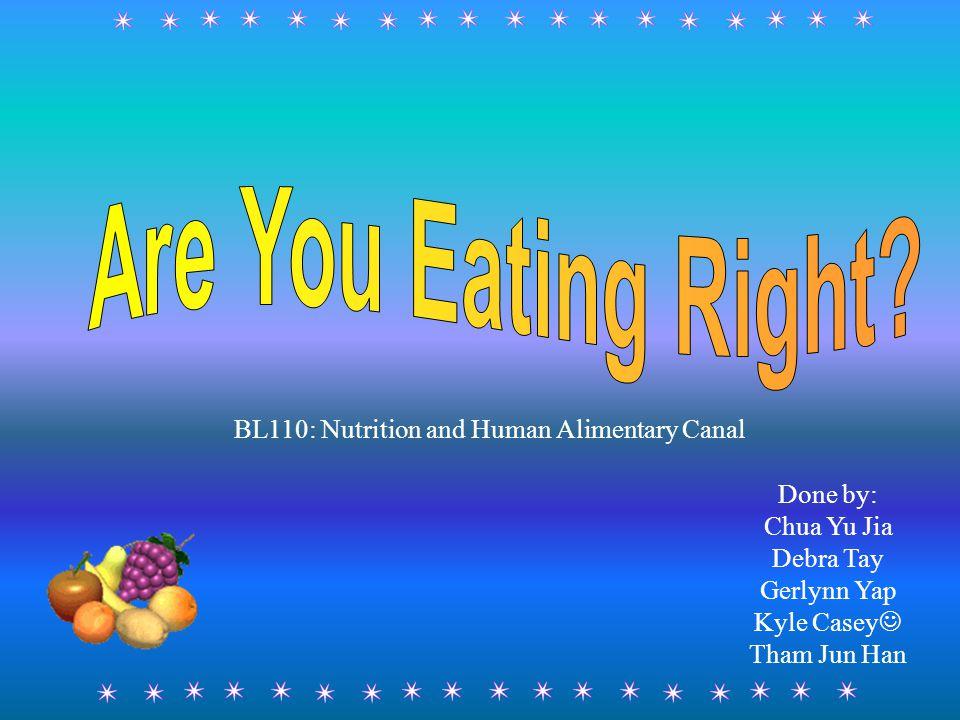Done by: Chua Yu Jia Debra Tay Gerlynn Yap Kyle Casey Tham Jun Han BL110: Nutrition and Human Alimentary Canal