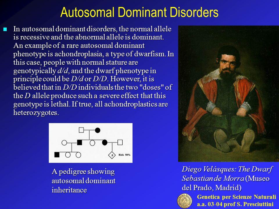 Genetica per Scienze Naturali a.a. 03-04 prof S. Presciuttini Autosomal Dominant Disorders In autosomal dominant disorders, the normal allele is reces