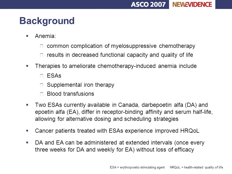 Study design  Prospective, randomized, open-label, phase III clinical trial (n = 375)  Stage I Ÿ Patients with chemotherapy-induced anemia (Hb levels  100 g/L) received treatment with ESA alone (100 mcg DA or 40,000 units EA weekly or 200 mcg DA every other week) for 8 weeks  Stage II Ÿ Patients classified as ESA responders (≥10 g/L increase in Hb) or ESA non-responders randomized to receive either – Fixed doses of ESA plus up to 1,500 mg of IV iron sucrose (given in 3 divided doses of up to 500 mg) for 12 weeks or – Fixed doses of ESA alone for 12 weeks  Primary endpoint: change in Hb in responders  Secondary endpoints: Hb change among non-responders, start and duration of Hb response, adverse events, and change in Hb in all patients Bellet RE, et al.
