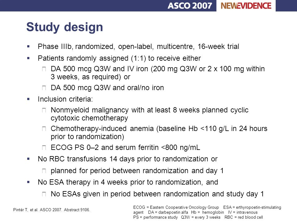 Key conclusions  Intravenous iron sucrose increased Hb levels and iron stores significantly Well tolerated in doses up to 500 mg increments in ESA-treated patients with chemotherapy-related anemia Prior response to ESA therapy did not significantly influence response to IV iron  Intravenous iron sucrose should be considered in combination with erythropoietic therapy in anemic cancer patients receiving chemotherapy Bellet RE, et al.