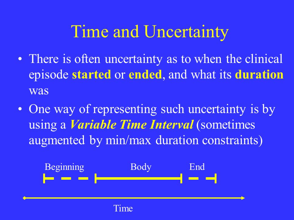 Time and Uncertainty There is often uncertainty as to when the clinical episode started or ended, and what its duration was One way of representing such uncertainty is by using a Variable Time Interval (sometimes augmented by min/max duration constraints) BodyBeginningEnd Time