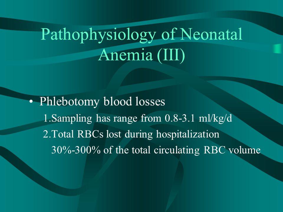 RBC Transfusions to Treat Neonatal Anemia (I) Maintain Hct > 40% for severe cardiopulmonary disease Maintain Hct > 30% for moderate cardiopulmonary Surgery Hct < 30% Blood loss>25%