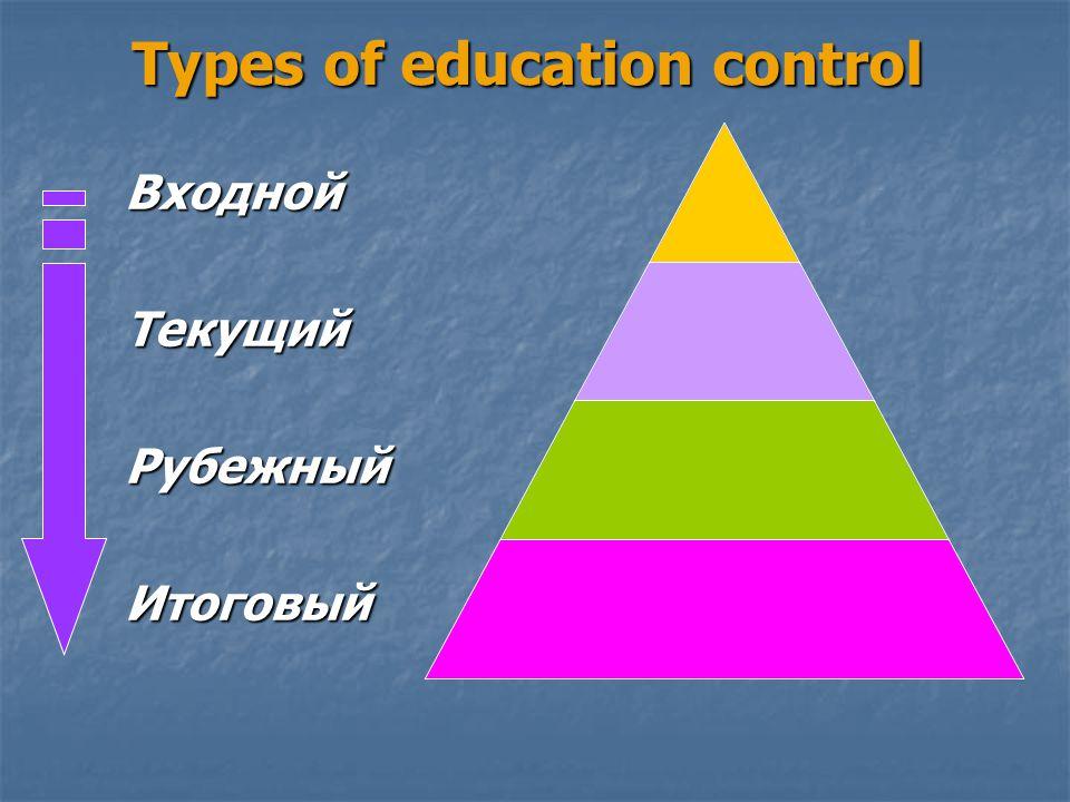 Types of education control ВходнойТекущийРубежныйИтоговый