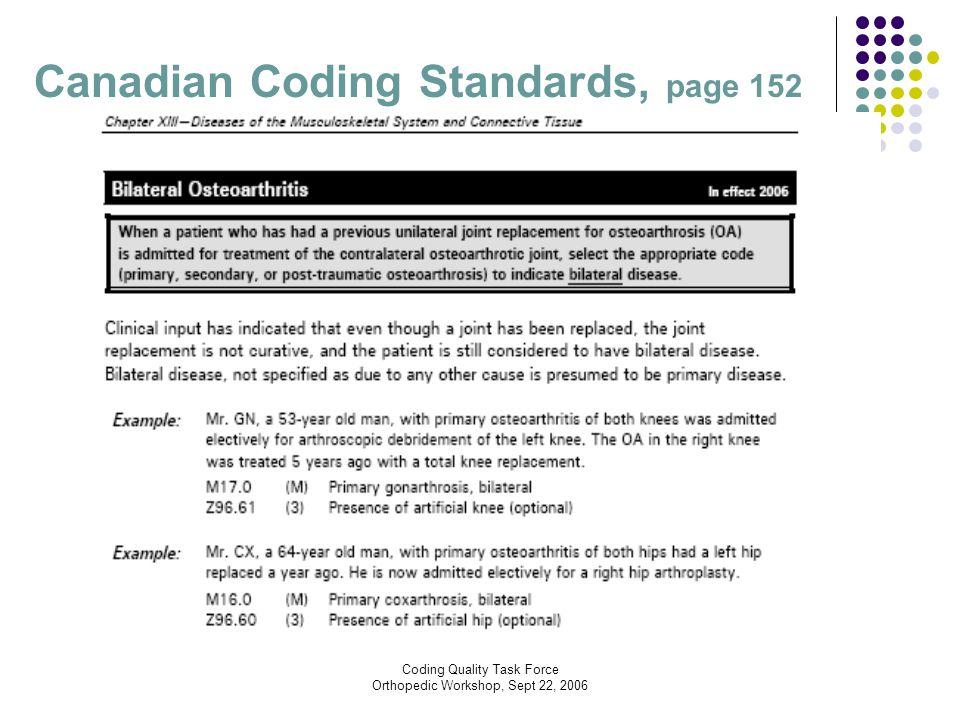 Coding Quality Task Force Orthopedic Workshop, Sept 22, 2006 Canadian Coding Standards, page 152