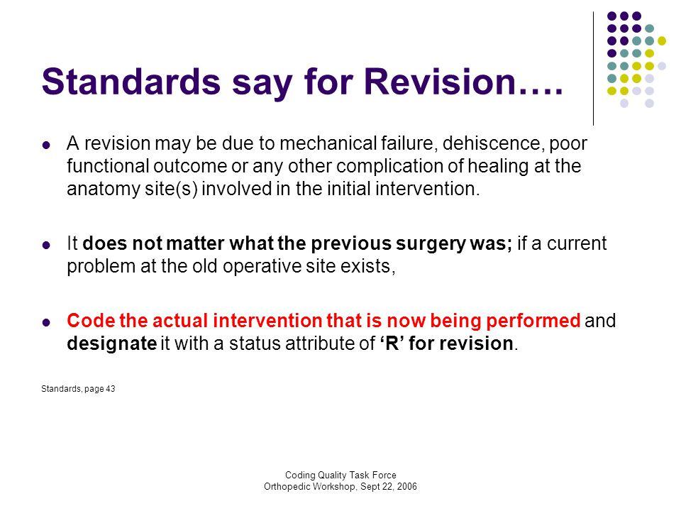 Coding Quality Task Force Orthopedic Workshop, Sept 22, 2006 Standards say for Revision….