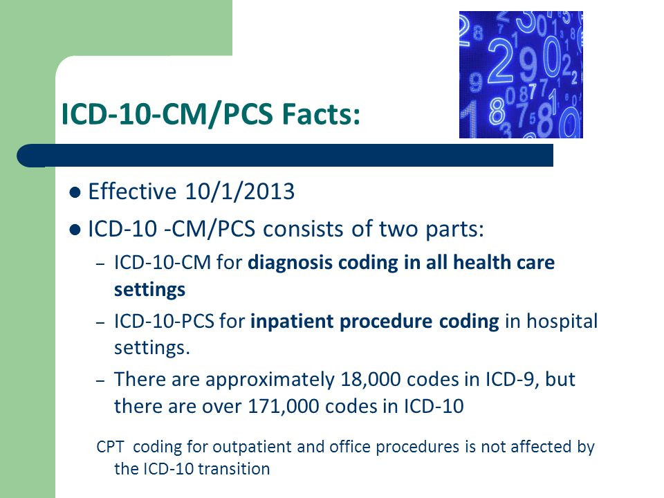 ICD-10-CM/PCS Facts: Effective 10/1/2013 ICD-10 -CM/PCS consists of two parts: – ICD-10-CM for diagnosis coding in all health care settings – ICD-10-P