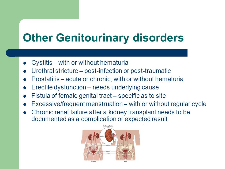 Other Genitourinary disorders Cystitis – with or without hematuria Urethral stricture – post-infection or post-traumatic Prostatitis – acute or chroni