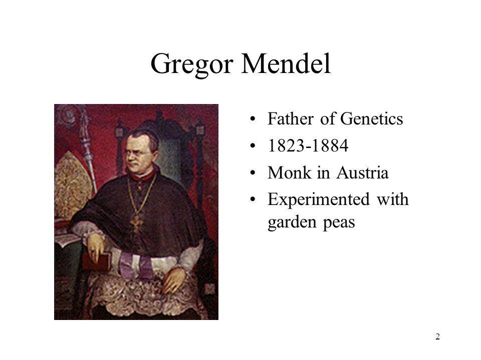 2 Gregor Mendel Father of Genetics 1823-1884 Monk in Austria Experimented with garden peas