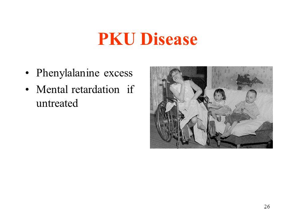 26 PKU Disease Phenylalanine excess Mental retardation if untreated