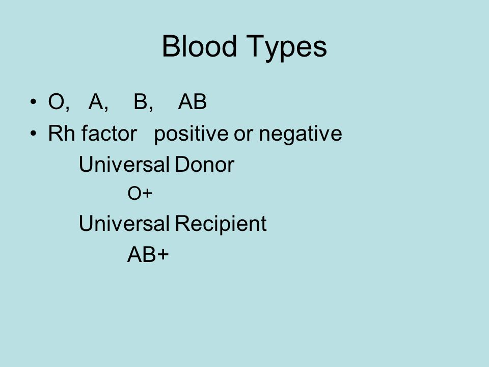 Blood Types O, A, B, AB Rh factor positive or negative Universal Donor O+ Universal Recipient AB+