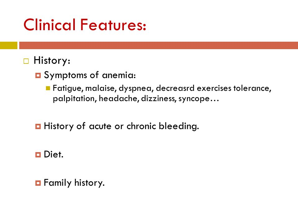 G6PD Deficiency Anemia:  Clinical Features  Frequently presents as episodic hemolysis precipitated by: oxidative stress: drugs (e.g.