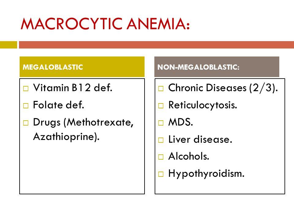 MACROCYTIC ANEMIA:  Vitamin B12 def.  Folate def.