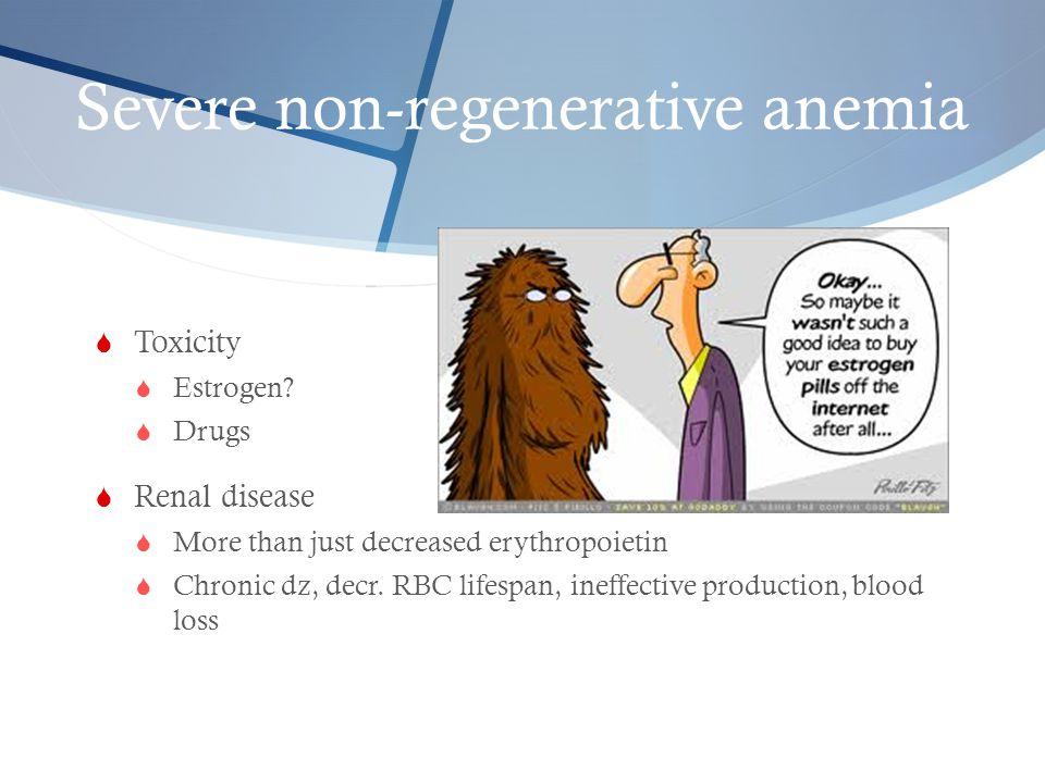 Severe non-regenerative anemia  Toxicity  Estrogen?  Drugs  Renal disease  More than just decreased erythropoietin  Chronic dz, decr. RBC lifesp