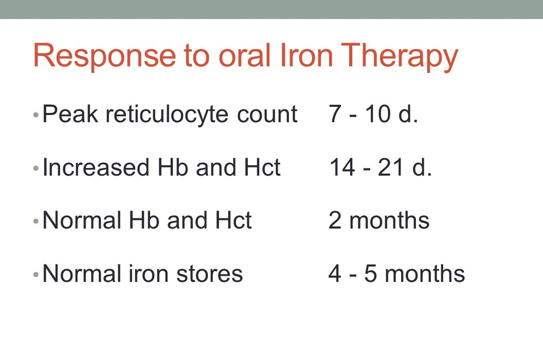 Response to oral Iron Therapy Peak reticulocyte count7 - 10 d. Increased Hb and Hct14 - 21 d. Normal Hb and Hct2 months Normal iron stores4 - 5 months