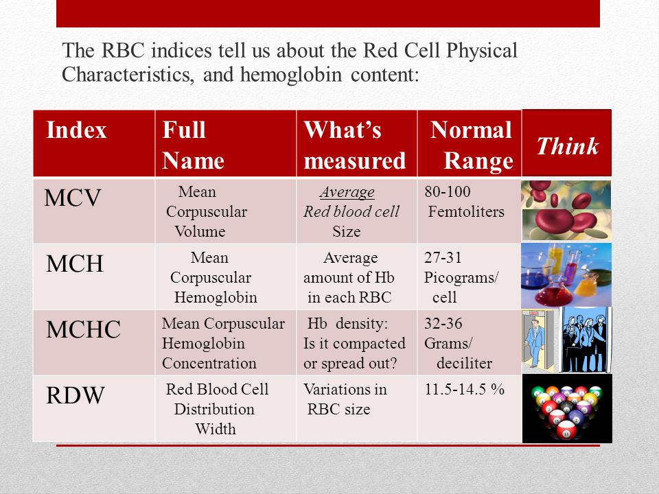 The RBC indices tell us about the Red Cell Physical Characteristics, and hemoglobin content: IndexFull Name What's measured Normal Range MCV Mean Corpuscular Volume Average Red blood cell Size 80-100 Femtoliters MCH Mean Corpuscular Hemoglobin Average amount of Hb in each RBC 27-31 Picograms/ cell MCHC Mean Corpuscular Hemoglobin Concentration Hb density: Is it compacted or spread out.