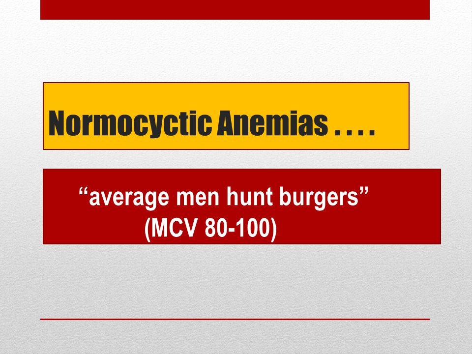 "Normocyctic Anemias.... ""average men hunt burgers"" (MCV 80-100)"