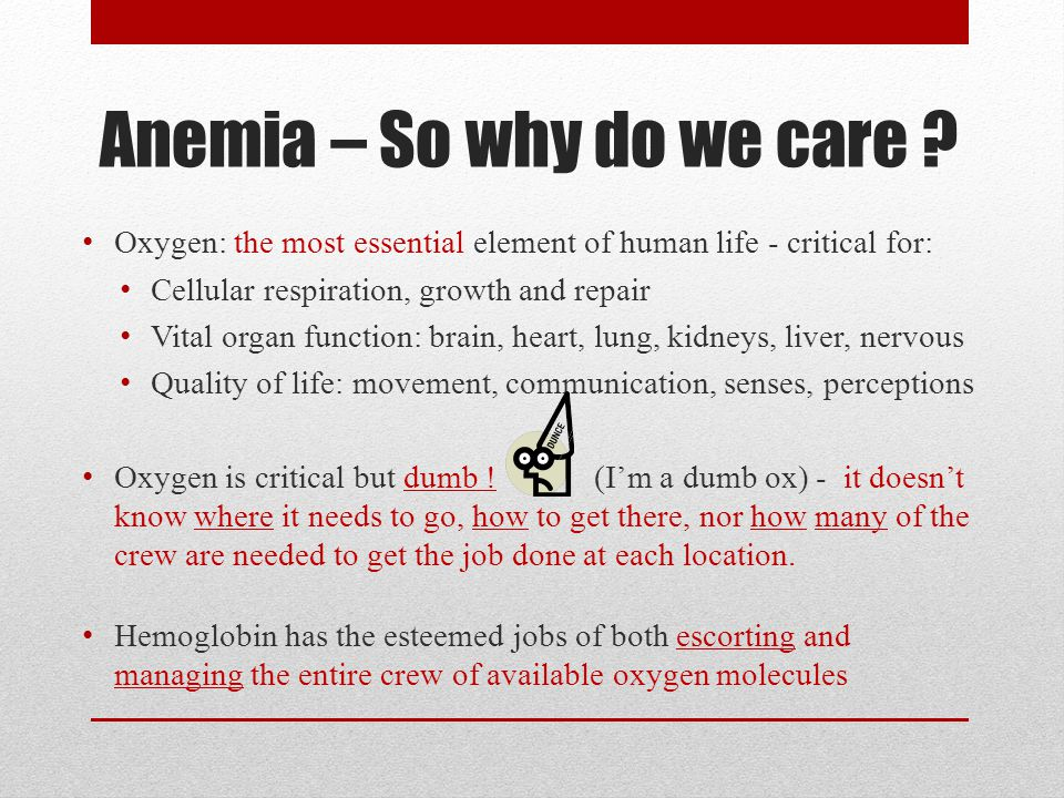 Anemia – So why do we care .