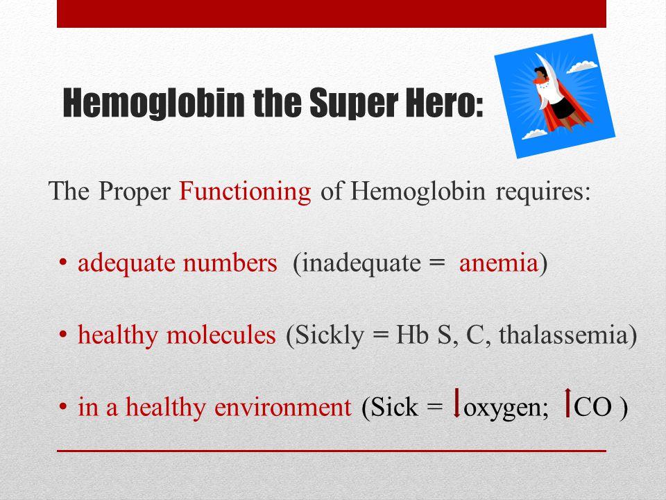 Hemoglobin the Super Hero: The Proper Functioning of Hemoglobin requires: adequate numbers (inadequate = anemia) healthy molecules (Sickly = Hb S, C, thalassemia) in a healthy environment (Sick = oxygen; CO )