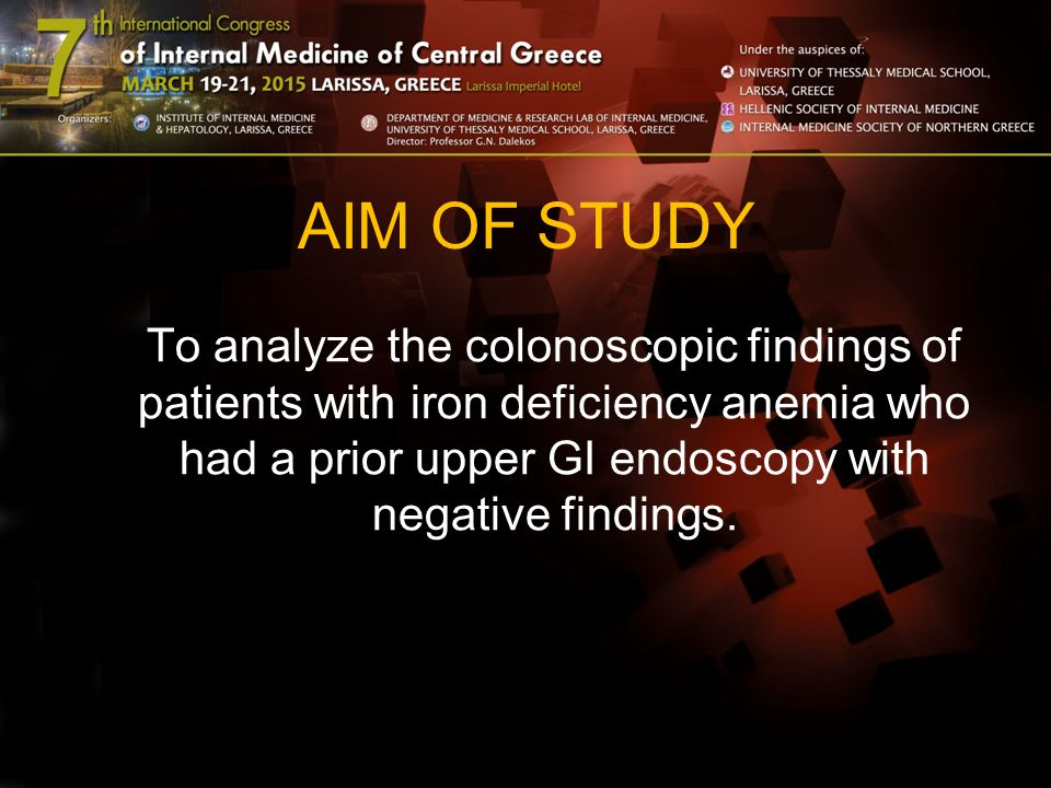 AIM OF STUDY To analyze the colonoscopic findings of patients with iron deficiency anemia who had a prior upper GI endoscopy with negative findings.