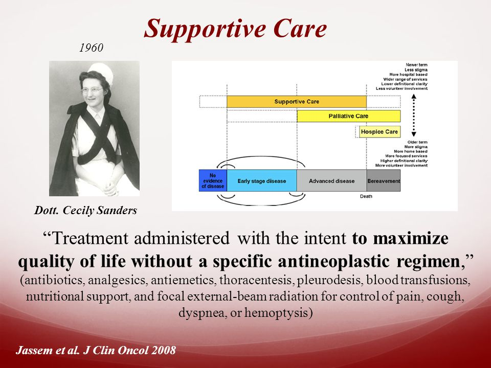Supportive Care Treatment administered with the intent to maximize quality of life without a specific antineoplastic regimen, (antibiotics, analgesics, antiemetics, thoracentesis, pleurodesis, blood transfusions, nutritional support, and focal external-beam radiation for control of pain, cough, dyspnea, or hemoptysis) Jassem et al.