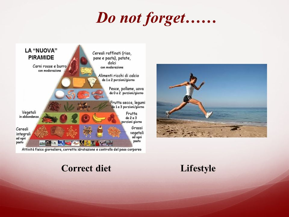 Do not forget…… Correct dietLifestyle