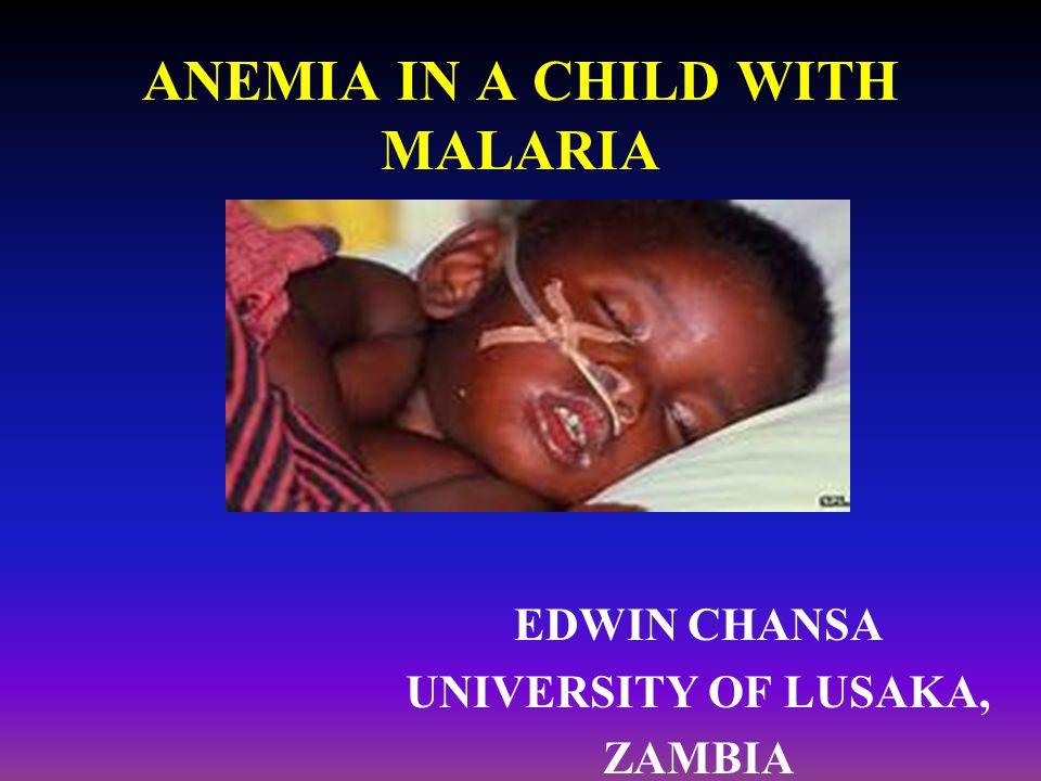 ANEMIA IN A CHILD WITH MALARIA EDWIN CHANSA UNIVERSITY OF LUSAKA, ZAMBIA