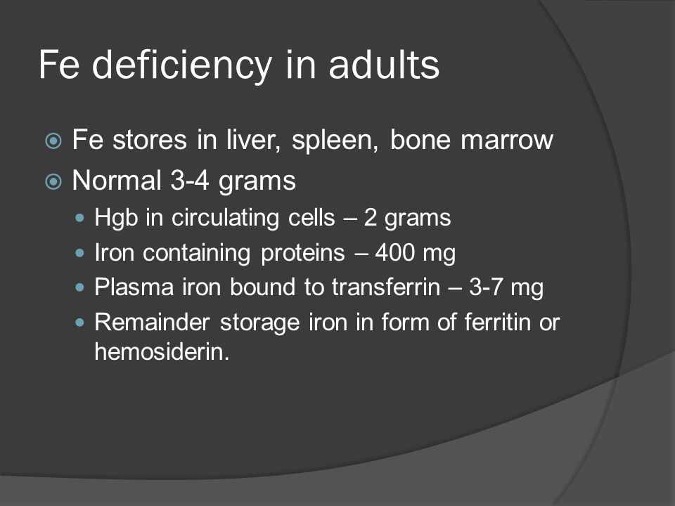 Fe deficiency in adults  Fe stores in liver, spleen, bone marrow  Normal 3-4 grams Hgb in circulating cells – 2 grams Iron containing proteins – 400 mg Plasma iron bound to transferrin – 3-7 mg Remainder storage iron in form of ferritin or hemosiderin.