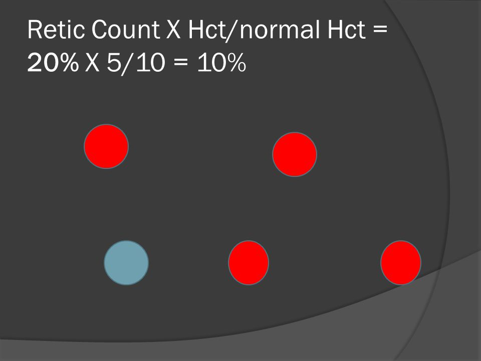 Retic Count X Hct/normal Hct = 20% X 5/10 = 10%
