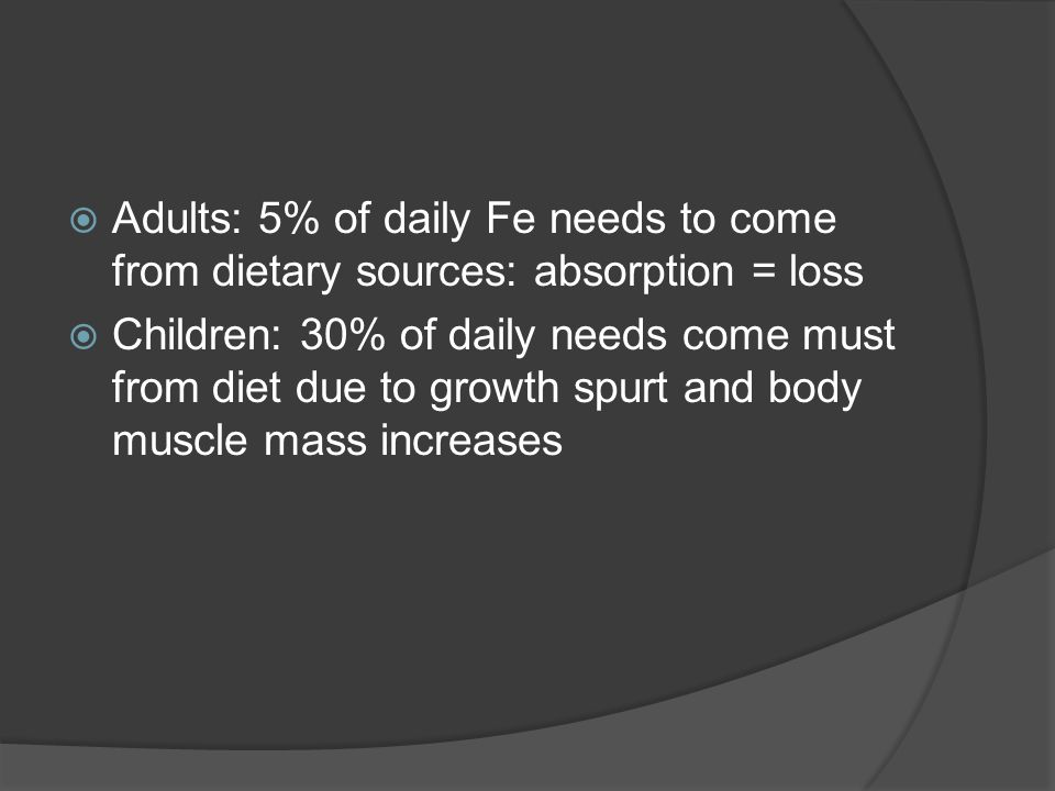  Adults: 5% of daily Fe needs to come from dietary sources: absorption = loss  Children: 30% of daily needs come must from diet due to growth spurt and body muscle mass increases