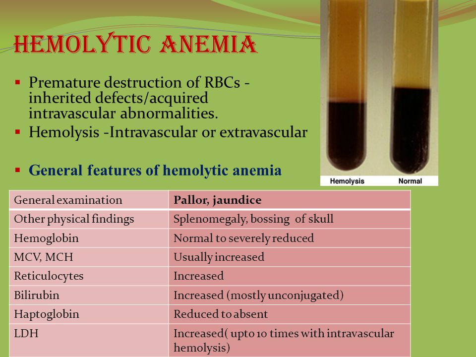 Hemolytic anemia  Premature destruction of RBCs - inherited defects/acquired intravascular abnormalities.