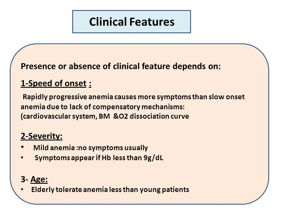 Clinical Features Presence or absence of clinical feature depends on: 1-Speed of onset : Rapidly progressive anemia causes more symptoms than slow onset anemia due to lack of compensatory mechanisms: (cardiovascular system, BM &O2 dissociation curve 2-Severity: Mild anemia :no symptoms usually Symptoms appear if Hb less than 9g/dL 3- Age: Elderly tolerate anemia less than young patients