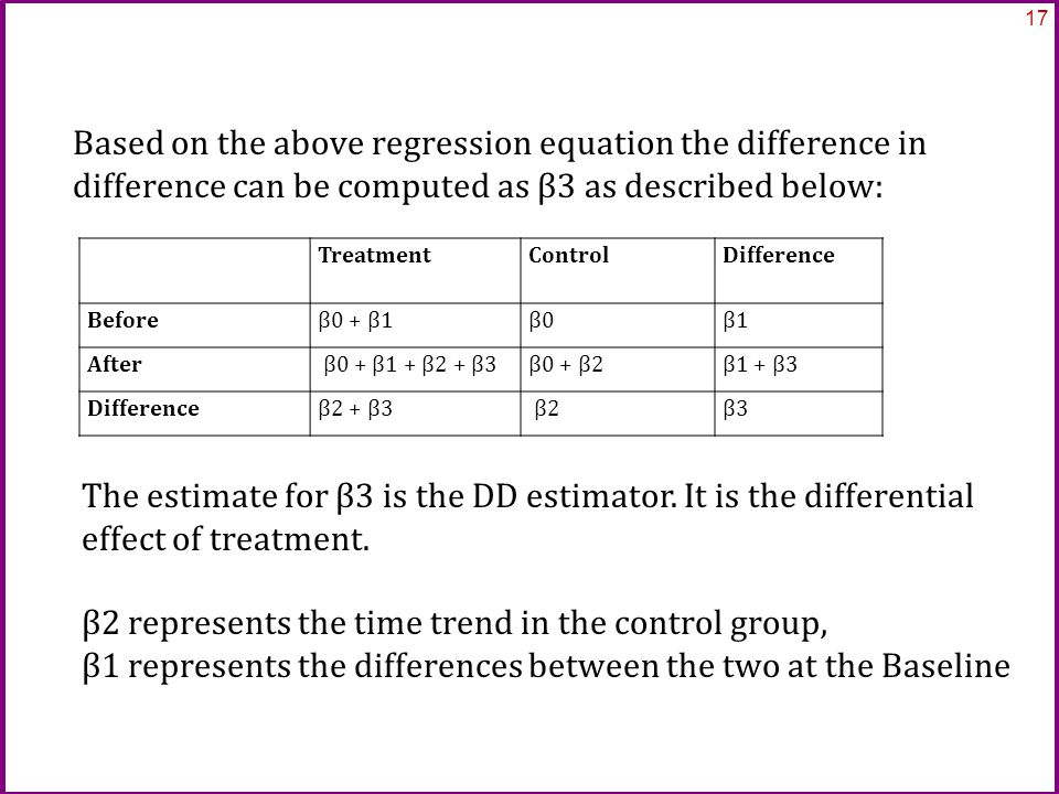 Based on the above regression equation the difference in difference can be computed as β3 as described below: 17 Treatment ControlDifference Beforeβ0 + β1β0β1 After β0 + β1 + β2 + β3β0 + β2β1 + β3 Differenceβ2 + β3 β2β3 The estimate for β3 is the DD estimator.
