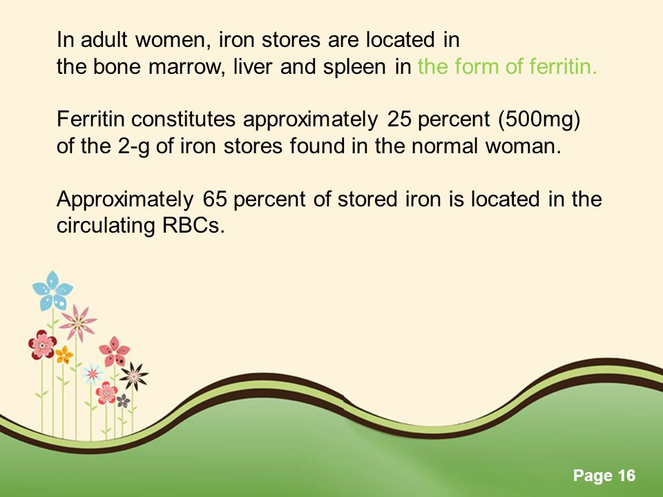 Page 16 In adult women, iron stores are located in the bone marrow, liver and spleen in the form of ferritin. Ferritin constitutes approximately 25 pe