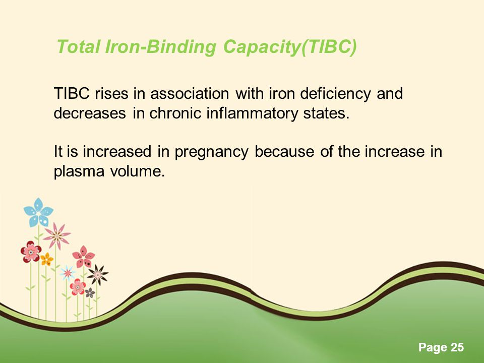 Page 25 TIBC rises in association with iron deficiency and decreases in chronic inflammatory states. It is increased in pregnancy because of the incre