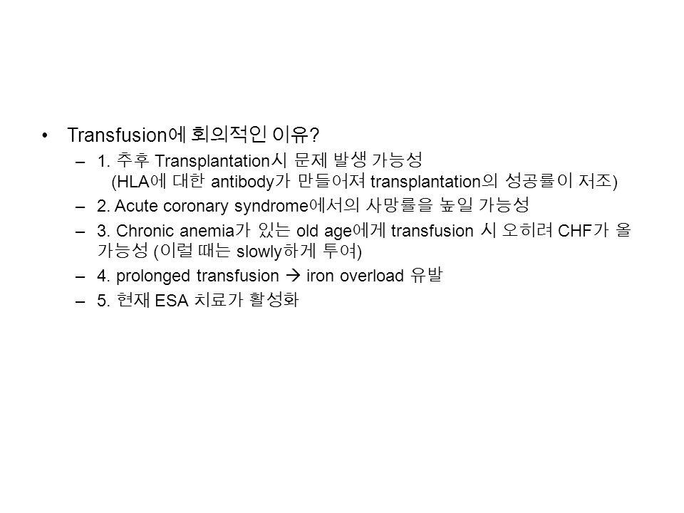 Transfusion 에 회의적인 이유 . –1.