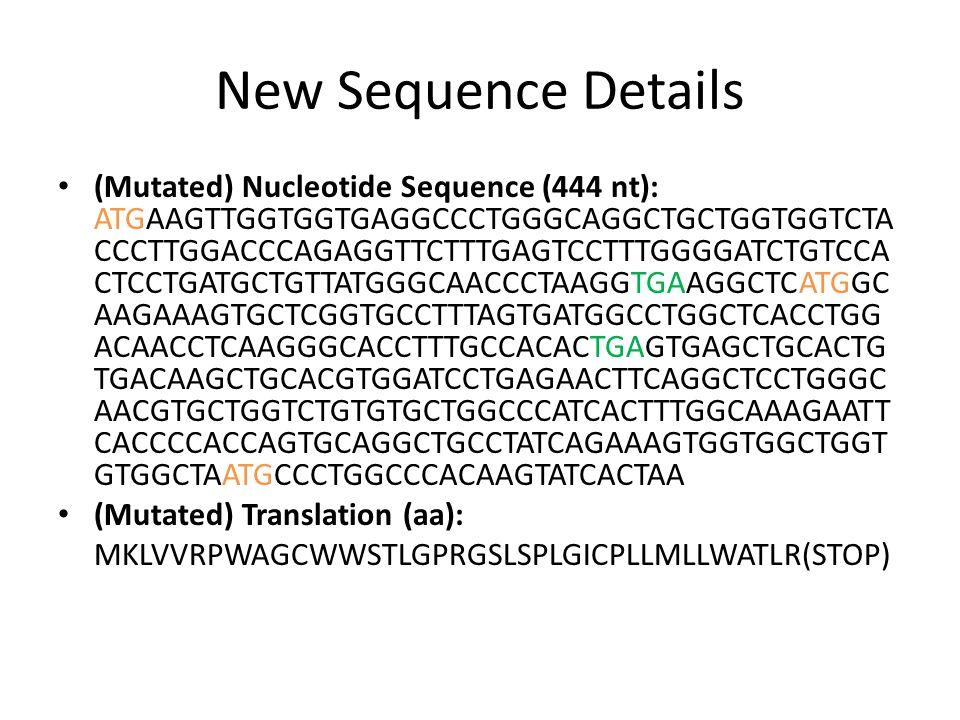 New Sequence Details (Mutated) Nucleotide Sequence (444 nt): ATGAAGTTGGTGGTGAGGCCCTGGGCAGGCTGCTGGTGGTCTA CCCTTGGACCCAGAGGTTCTTTGAGTCCTTTGGGGATCTGTCCA CTCCTGATGCTGTTATGGGCAACCCTAAGGTGAAGGCTCATGGC AAGAAAGTGCTCGGTGCCTTTAGTGATGGCCTGGCTCACCTGG ACAACCTCAAGGGCACCTTTGCCACACTGAGTGAGCTGCACTG TGACAAGCTGCACGTGGATCCTGAGAACTTCAGGCTCCTGGGC AACGTGCTGGTCTGTGTGCTGGCCCATCACTTTGGCAAAGAATT CACCCCACCAGTGCAGGCTGCCTATCAGAAAGTGGTGGCTGGT GTGGCTAATGCCCTGGCCCACAAGTATCACTAA (Mutated) Translation (aa): MKLVVRPWAGCWWSTLGPRGSLSPLGICPLLMLLWATLR(STOP)