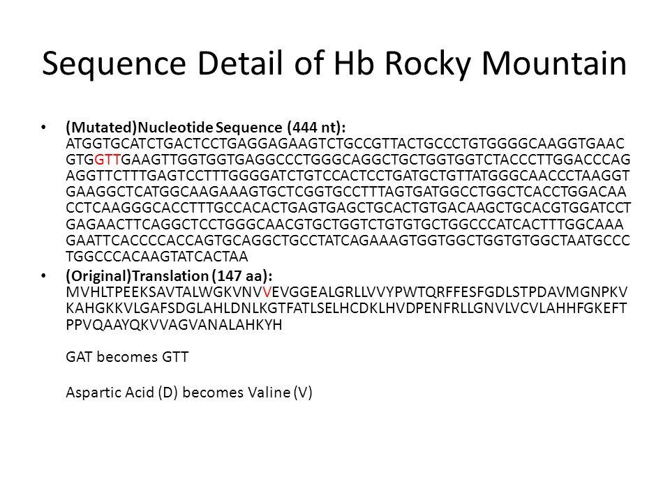 Sequence Detail of Hb Rocky Mountain (Mutated)Nucleotide Sequence (444 nt): ATGGTGCATCTGACTCCTGAGGAGAAGTCTGCCGTTACTGCCCTGTGGGGCAAGGTGAAC GTGGTTGAAGTTGGTGGTGAGGCCCTGGGCAGGCTGCTGGTGGTCTACCCTTGGACCCAG AGGTTCTTTGAGTCCTTTGGGGATCTGTCCACTCCTGATGCTGTTATGGGCAACCCTAAGGT GAAGGCTCATGGCAAGAAAGTGCTCGGTGCCTTTAGTGATGGCCTGGCTCACCTGGACAA CCTCAAGGGCACCTTTGCCACACTGAGTGAGCTGCACTGTGACAAGCTGCACGTGGATCCT GAGAACTTCAGGCTCCTGGGCAACGTGCTGGTCTGTGTGCTGGCCCATCACTTTGGCAAA GAATTCACCCCACCAGTGCAGGCTGCCTATCAGAAAGTGGTGGCTGGTGTGGCTAATGCCC TGGCCCACAAGTATCACTAA (Original)Translation (147 aa): MVHLTPEEKSAVTALWGKVNVVEVGGEALGRLLVVYPWTQRFFESFGDLSTPDAVMGNPKV KAHGKKVLGAFSDGLAHLDNLKGTFATLSELHCDKLHVDPENFRLLGNVLVCVLAHHFGKEFT PPVQAAYQKVVAGVANALAHKYH GAT becomes GTT Aspartic Acid (D) becomes Valine (V)