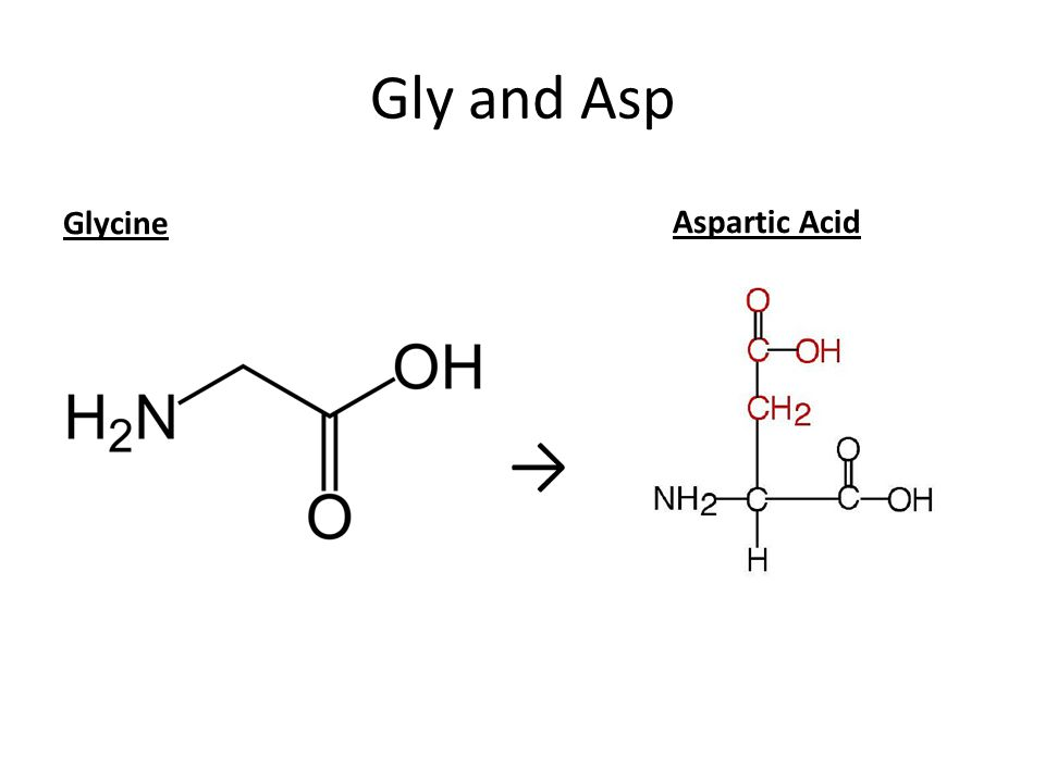 Gly and Asp Glycine Aspartic Acid →