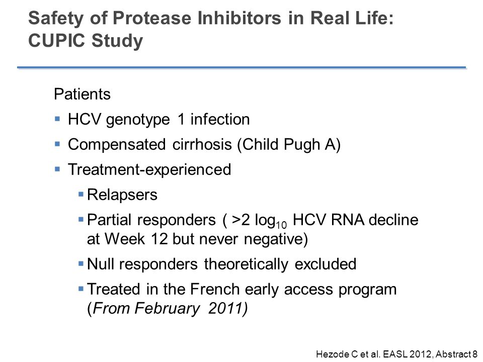 Patients  HCV genotype 1 infection  Compensated cirrhosis (Child Pugh A)  Treatment-experienced  Relapsers  Partial responders ( >2 log 10 HCV RNA decline at Week 12 but never negative)  Null responders theoretically excluded  Treated in the French early access program (From February 2011) Safety of Protease Inhibitors in Real Life: CUPIC Study Hezode C et al.
