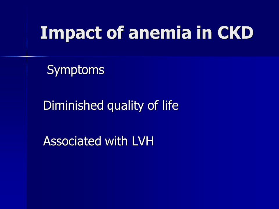 Impact of anemia in CKD Symptoms Symptoms Diminished quality of life Diminished quality of life Associated with LVH Associated with LVH